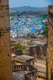 The View from Mehrangarh Fort of the Blue Rooftops in Jodhpur, the Blue City, Rajasthan Photographic Print by Laura Grier