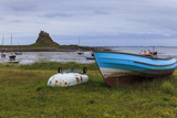 Fishing Boats Onshore and Beach at Low Tide with Lindisfarne Castle and Farne Islands, Holy Island Photographic Print by Eleanor Scriven