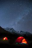 Glowing Tents at Samogaon on the Manaslu Circuit Trek, Himalayas, Nepal, Asia Photographic Print by Alex Treadway
