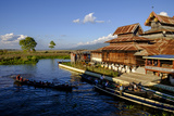 Nga Pe Chaung Teak Wood Monastery (Jumping Cat Monastery), Inle Lake, Shan State Photographic Print by Nathalie Cuvelier