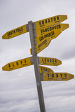 City Distances Sign at Cape Reinga Lighthouse, Northland, North Island, New Zealand, Pacific Photographic Print by Matthew Williams-Ellis