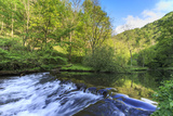 River Wye with Weir Runs Through Verdant Wood in Millers Dale, Reflections in Calm Water Photographic Print by Eleanor Scriven