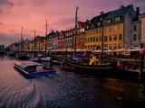 Sunset at Nyhavn, Copenhagen, Denmark, Scandinavia, Europe Fotoprint av Jim Nix
