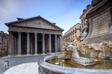 View of Old Pantheon a Circular Building with a Portico of Granite Corinthian Columns and Fountains Photographic Print by Roberto Moiola