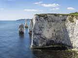 The Chalk Cliffs of Ballard Down with the Pinnacles Stack and Stump in Swanage Bay Photographic Print by Roy Rainford