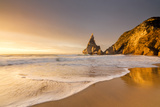 Golden Reflections of the Cliffs on Praia Da Ursa Beach Bathed by Ocean at Sunset, Cabo Da Roca Photographic Print by Roberto Moiola
