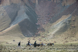 Donkeys and Farmers Make their Way Home Near Band-E Amir, Afghanistan, Asia Fotografisk tryk af Alex Treadway