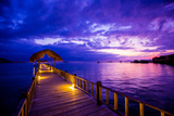 Sunset over the Pier, Hotel Seraya, Flores Island, Indonesia, Southeast Asia, Asia Photographic Print by Laura Grier