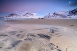 Full Moon Reflected on Sand in the Surreal Scenery of Skagsanden Beach, Flakstad, Nordland County Photographic Print by Roberto Moiola