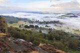 Early Morning Fog around Curbar Village, from Curbar Edge, Peak District National Park Photographic Print by Eleanor Scriven