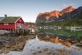 Fishing Village and Peaks Reflected in Water under Midnight Sun, Reine, Nordland County Photographic Print by Roberto Moiola