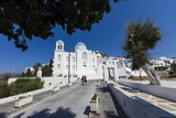 Tourists Admire the Architecture of Orthodox Churches Colored White and Blue as Symbols of Greece Photographic Print by Roberto Moiola