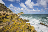 The Waves of the Caribbean Sea Crashing on the Cliffs, Half Moon Bay, Antigua and Barbuda Photographic Print by Roberto Moiola