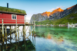 Typical House of Fishermen Called Rorbu Lit Up by Midnight Sun, Reine, Nordland County Photographic Print by Roberto Moiola