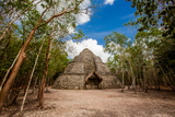 Pyramid in the Ancient Mayan Ruins of Coba, Outside of Tulum, Mexico, North America Photographic Print by Laura Grier