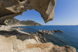 View of the Blue Sea from a Natural Sea Cave of Rocks Shaped by Wind, Punta Molentis, Villasimius Photographic Print by Roberto Moiola