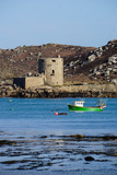 Fishing Boat, Cromwell's Castle on Tresco, Isles of Scilly, England, United Kingdom, Europe Photographic Print by Robert Harding