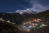 Spectacular Namche Bazaar Lit Up at Night, in the Everest Region, Himalayas, Nepal, Asia Photographic Print by Alex Treadway