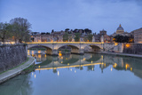 Dusk on Tiber River with Umberto I Bridge and Basilica Di San Pietro in Vatican in Background Photographic Print by Roberto Moiola
