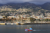 Funchal Town from Sea with Fishing Boat, Lit by Evening Sun with Foggy Mountain Backdrop, Funchal Photographic Print by Eleanor Scriven