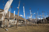 Prayer Flags at the Small Village of Chebisa in Northern Bhutan on the Laya-Gasa Trekking Route Photographic Print by Alex Treadway