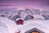Pink Sky at Sunset Frames the Snowy Mountain Huts and Church, Bettmeralp, District of Raron Photographic Print by Roberto Moiola