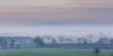 A Pastel Spring Dawn Morning with Mist Lying in Cheshire Plain Photographic Print by Garry Ridsdale