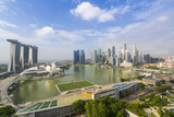 View over Singapore Skyline around Marina Bay with Marina Bay Sands Photographic Print by Fraser Hall