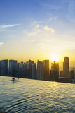 Infinity Pool on Roof of Marina Bay Sands Hotel with Spectacular Views over Singapore Skyline Photographic Print by Fraser Hall