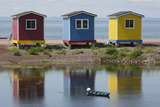 Colourfully Painted Huts by Shore of Atlantic Ocean at Heart's Delight-Islington in Newfoundland Photographic Print by Stuart Forster