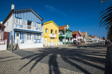 Colourful Stripes Decorate Traditional Beach House Style on Houses in Costa Nova, Portugal, Europe Photographic Print by Alex Treadway