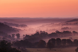 The Littondale Valley in Yorkshire Dales with Mist Lingering Among Trees in Light of Autumn Morning Photographic Print by Garry Ridsdale