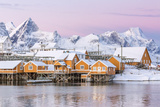 The Colors of Dawn Frame the Fishermen's Houses Surrounded by Frozen Sea, Sakrisoy, Reine Photographic Print by Roberto Moiola