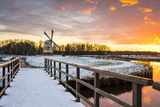 Witte Molen (White Mill) Dutch Windmill in Winter at Sunset, Harn, Groningen Photographic Print by Jason Langley