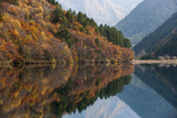 Jiuzhaigou on the Edge of the Tibetan Plateau, known for its Waterfalls and Colourful Lakes Photographic Print by Alex Treadway