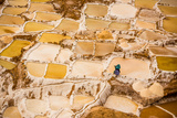 Woman Mining Salt, Salineras De Maras, Maras Salt Flats, Sacred Valley, Peru, South America Photographic Print by Laura Grier