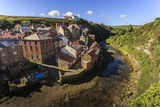 Steep Streets of Fishing Village Nd River, Elevated View in Summer, Staithes Photographic Print by Eleanor Scriven
