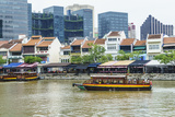 Tour Boat Passing Boat Quay, Singapore, Southeast Asia, Asia Photographic Print by Fraser Hall