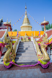 Naga Head Staircase and Devotee at Doi Kham (Wat Phra That Doi Kham) (Temple of Golden Mountain) Photographic Print by Alex Robinson