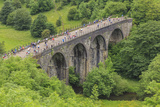 Monsal Trail, Crowded with Cyclists, Former Rail Line Viaduct over Monsal Dale at Monsal Head Photographic Print by Eleanor Scriven