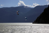 Two Kite Surfers on Howe Sound at Squamish, British Columbia, Canada, North America Photographic Print by David Pickford