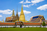 Spires and Stupas of Temple of the Emerald Buddha (Wat Phra Kaew), Grand Palace Complex, Bangkok Photographic Print by Jason Langley