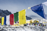 Prayer Flags and the Everest Base Camp at the End of the Khumbu Glacier That Lies at 5350M Photographic Print by Alex Treadway
