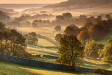 The Littondale Valley Lit by Early Morning Light on a Misty Autumn Morning in Yorkshire Dales Photographic Print by Garry Ridsdale