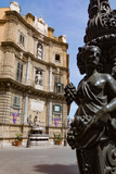 Decorative Lamp Post and Piazza Quattro Canti in Palermo, Sicily, Italy, Europe Photographic Print by Martin Child