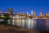 Brooklyn Bridge over East River, Lower Manhattan Skyline Photographic Print by Alan Copson