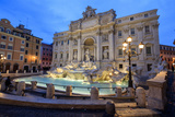 View of Trevi Fountain Illuminated by Street Lamps and the Lights of Dusk, Rome, Lazio Photographic Print by Roberto Moiola