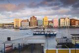 Otrobanda Ferry Terminal and Dutch Colonial Buildings on Handelskade Along Punda's Waterfront Photographic Print by Jane Sweeney
