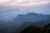 View from Mount Zwegabin at Sunrise, Hpa An, Kayin State (Karen State), Myanmar (Burma), Asia Photographic Print by Matthew Williams-Ellis