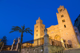 The Facade of the Norman Cathedral of Cefalu Illuminated at Night, Sicily, Italy, Europe Photographic Print by Martin Child